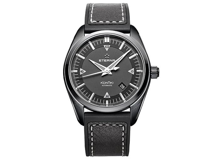 Reloj Automático Eterna KonTiki Date, SW 200-1, Negro, Correa de piel: Amazon.es: Relojes