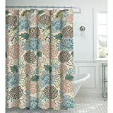 Creative Home Ideas Oxford Weave Textured 13-Piece Shower Curtain with Metal Roller Hooks, Sonrie Berber