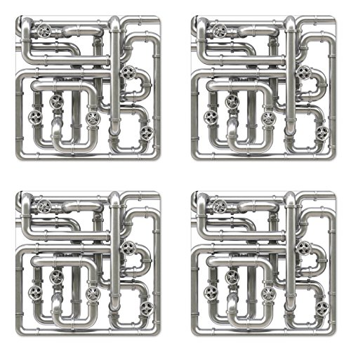 Ambesonne Industrial Coaster Set of 4, Maze of Pipelines Faucets and Valve Gasoline Engineering Themed Print, Square Hardboard Gloss Coasters for Drinks, Grey and White ()