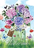 Morigins Spring Mason Jar Double Sided House Flag Floral Welcome Butterfly 28x40 Inch