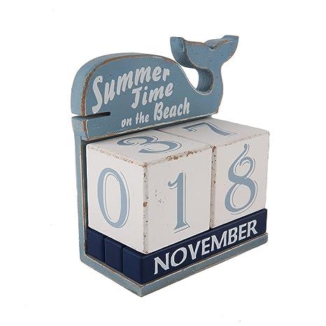 Amazon Com Nikky Home Wooden Whale Perpetual Desk Calendar Blocks