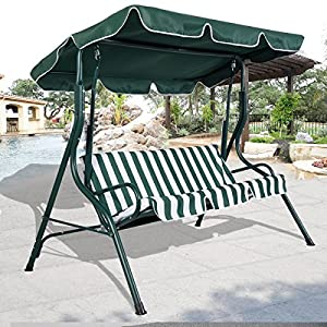 Swings 3 Person Patio Swing Outdoor Canopy Awning Yard Furniture Hammock Steel HD Green  Hammock