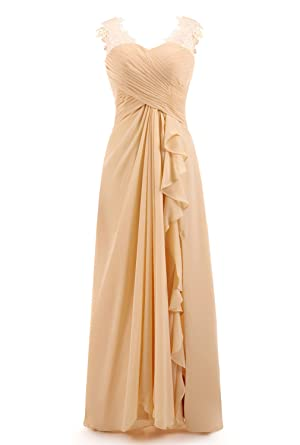 La Vogue Womens Sleeveless Slim Fit Lace Chiffon Long Bridesmaid Dress ...