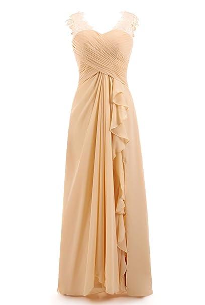 EOZY Vestido Para Mujer Vintage Boda Dama De Honor de Encaje con Cuello V Cóctel Amarillo