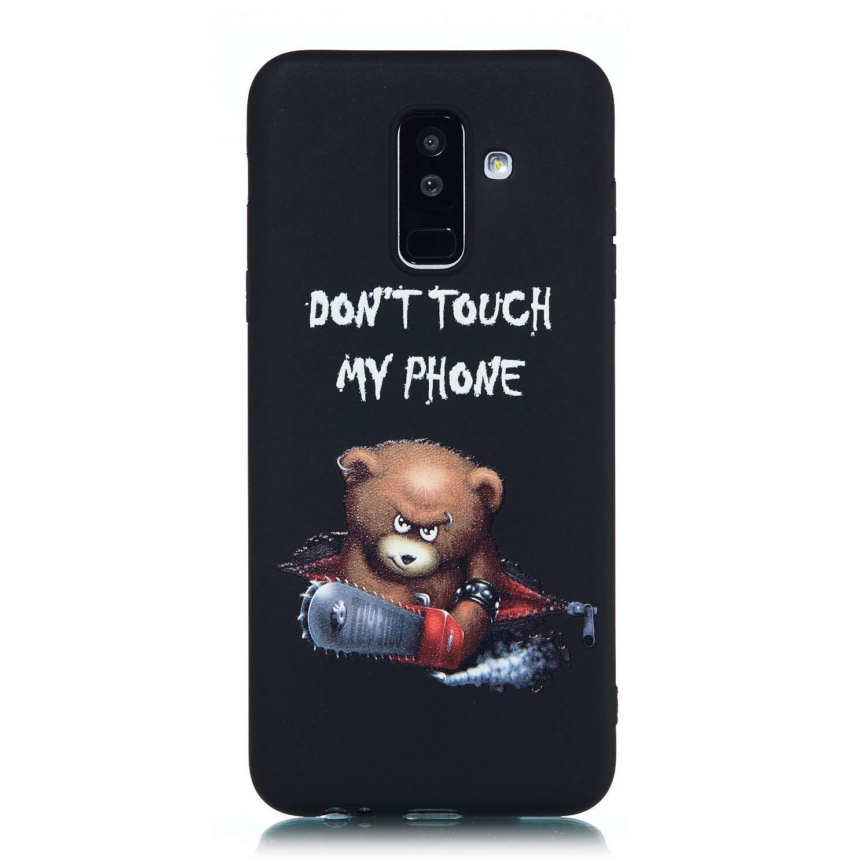 CUAgain Coque Compatible avec Samsung Galaxy A6 Plus 2018 Silicone Motif Drôle Noir Antichoc Ultra Fine Slim TPU Design Étui Galaxy A6+ 2018 Bumper Case Cover Housse pour Femme Fille Homme,Astronaute