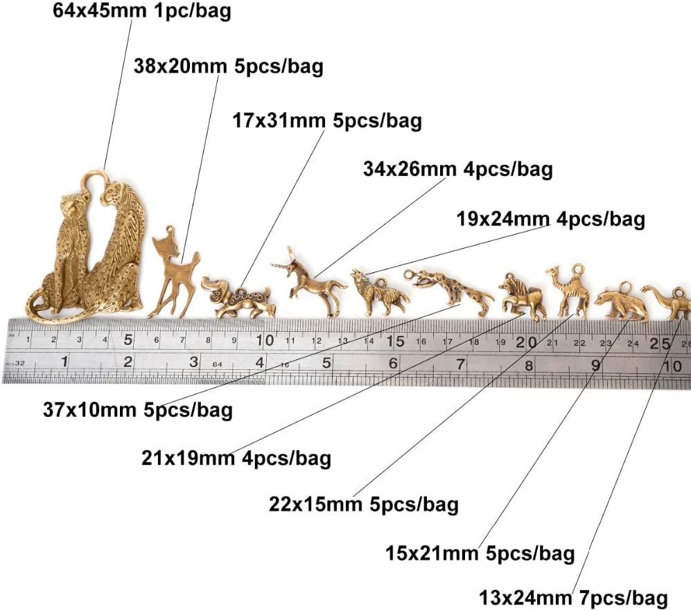 Wholesale Leopard Retro Alloy Charm Pendant Jewelry Making DIY 37x10mm