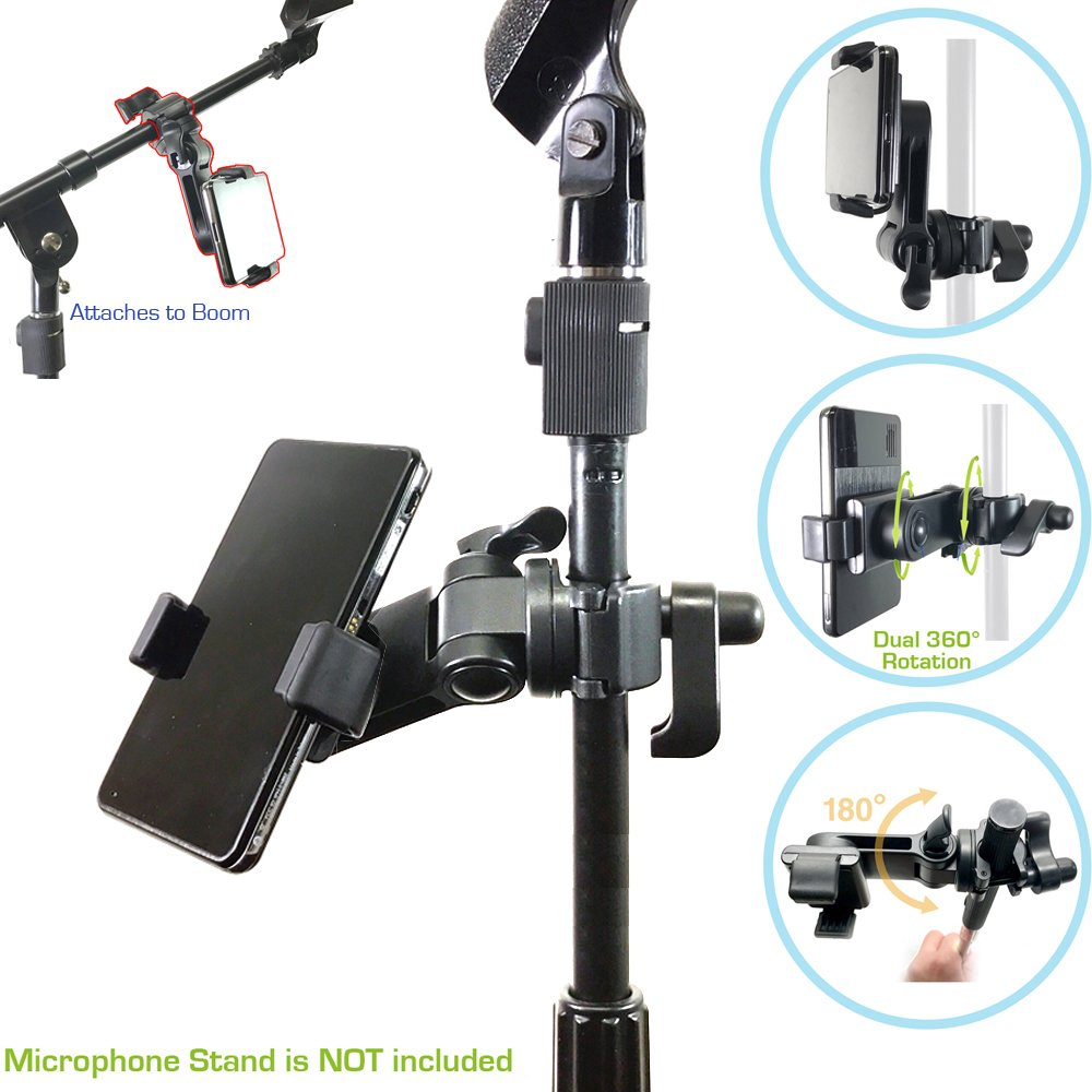 AccessoryBasics Music Boom Mic Microphone Stand Smartphone Mount w/360° Swivel Adjust Holder for Apple iPhone 11 Pro XR XS MAX X 8 Plus Samsung Galaxy S9 S10 Note Google Pixel XL phones by Accessory Basics