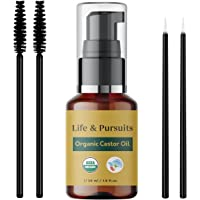 Organic Castor Oil (30 ml) for Eyebrows and Eyelashes, USDA Certified, 100% Cold-pressed | Life & Pursuits Castor Oil…