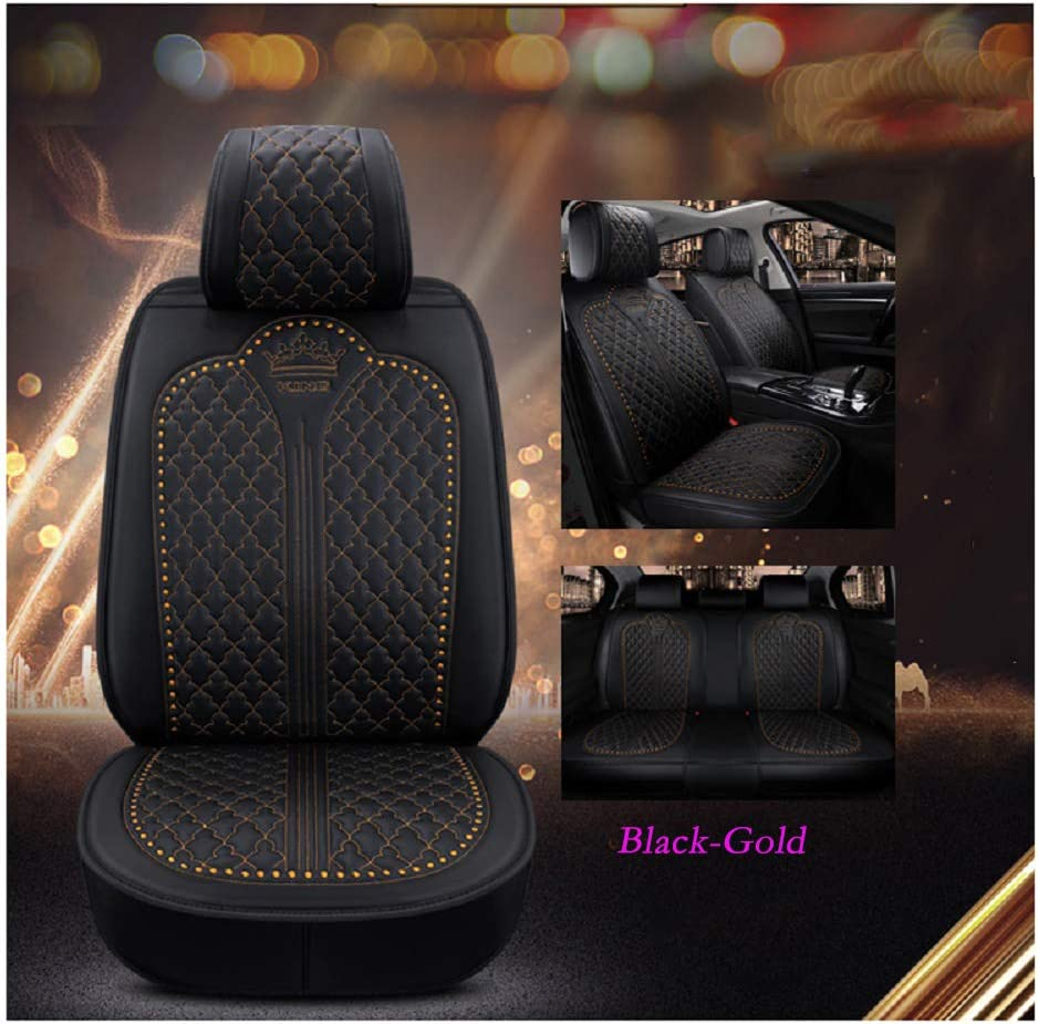 Black-Beige Luxury Auto Car Seat Covers 5 Seats Full Set Universal Fit