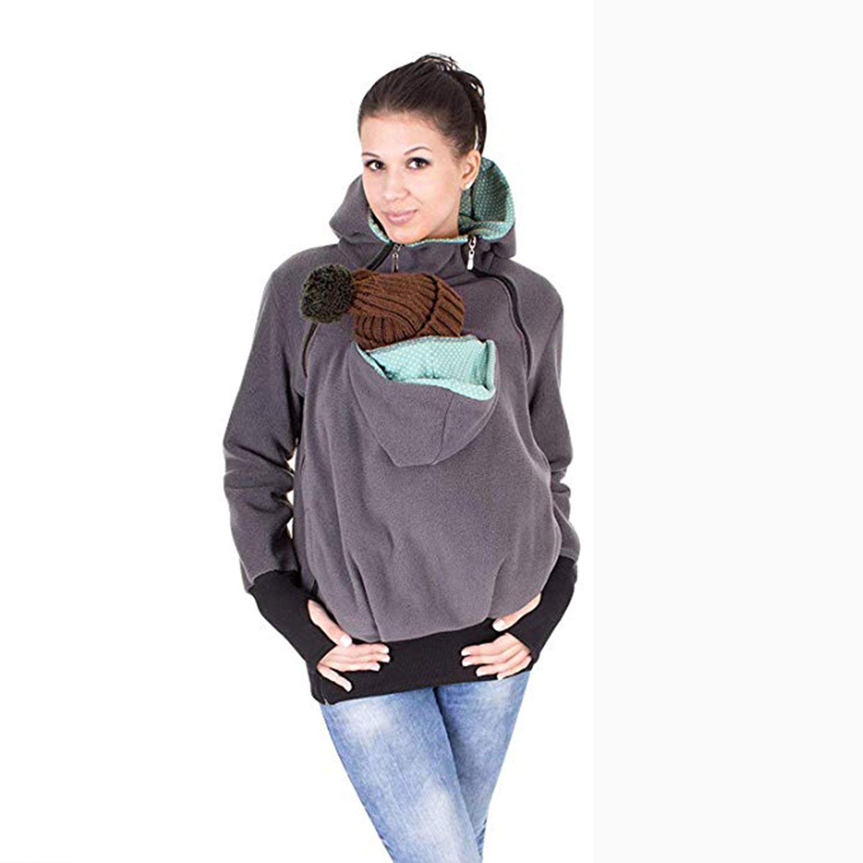 Autunno E Inverno Tre in Uno Staccabile Sacco A Pelo del Bambino Multifunzione Kangaroo Madre Felpa Cappotto Abbigliamento Donna