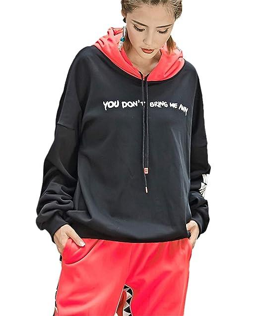 Hoody Mujer Streetwear Hip Hop Estilo Sudaderas con Capucha Otoño Invierno Anchos Estampadas Modernas Casual Carta Manga Larga Casuales Sudadera con Capucha ...