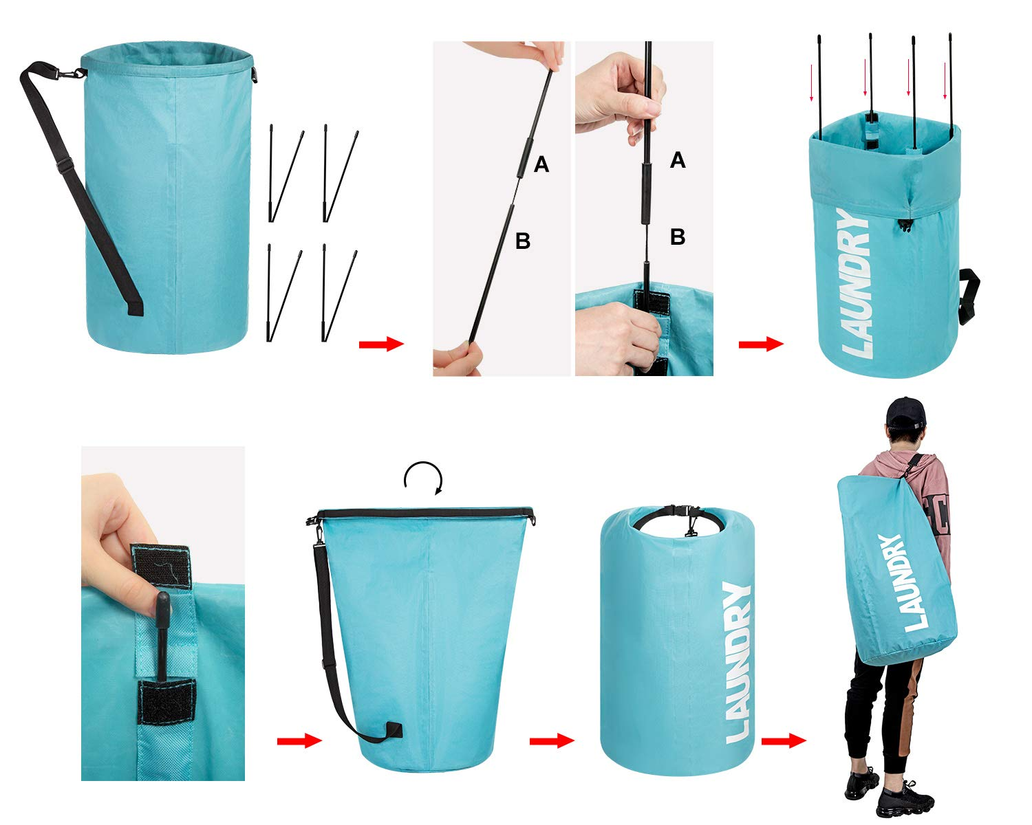 WOWLIVE Extra Large Foldable Laundry Hamper Durable Laundry Basket Collapsible Laundry Bag Backpack Laundry LinerDirty Clothes Hamper Standing Waterproof Hamper for Laundry (Light Blue)