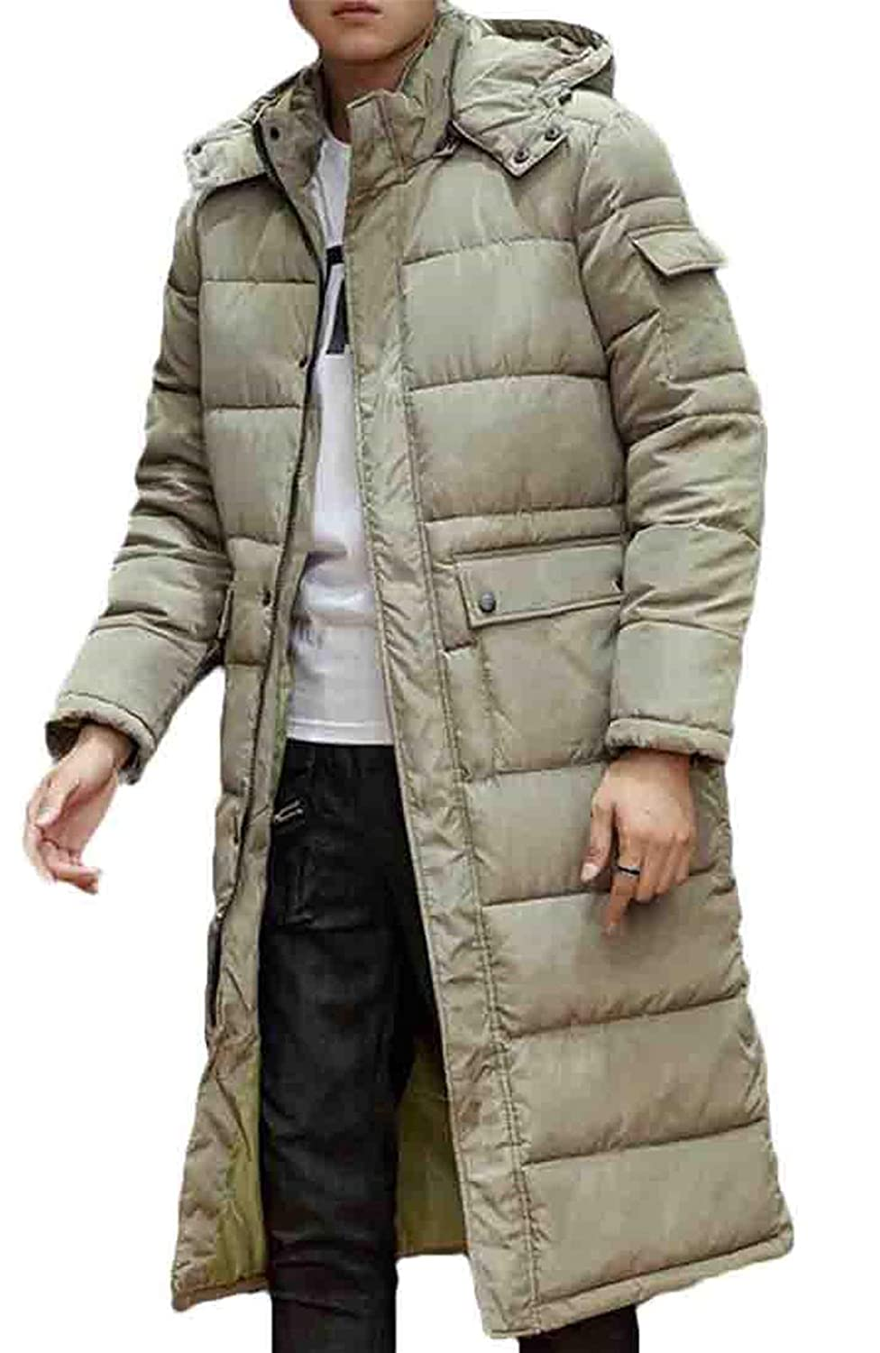 Hilization Mens Winter Plain Thicken Zip-Up Cotton Casual Hooded Long with Pockets Down Jacket