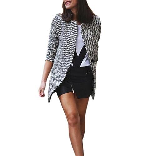 Abrigo de invierno mujer - Amlaiworld Mujeres lana de largo abrigo Trench parka chaqueta