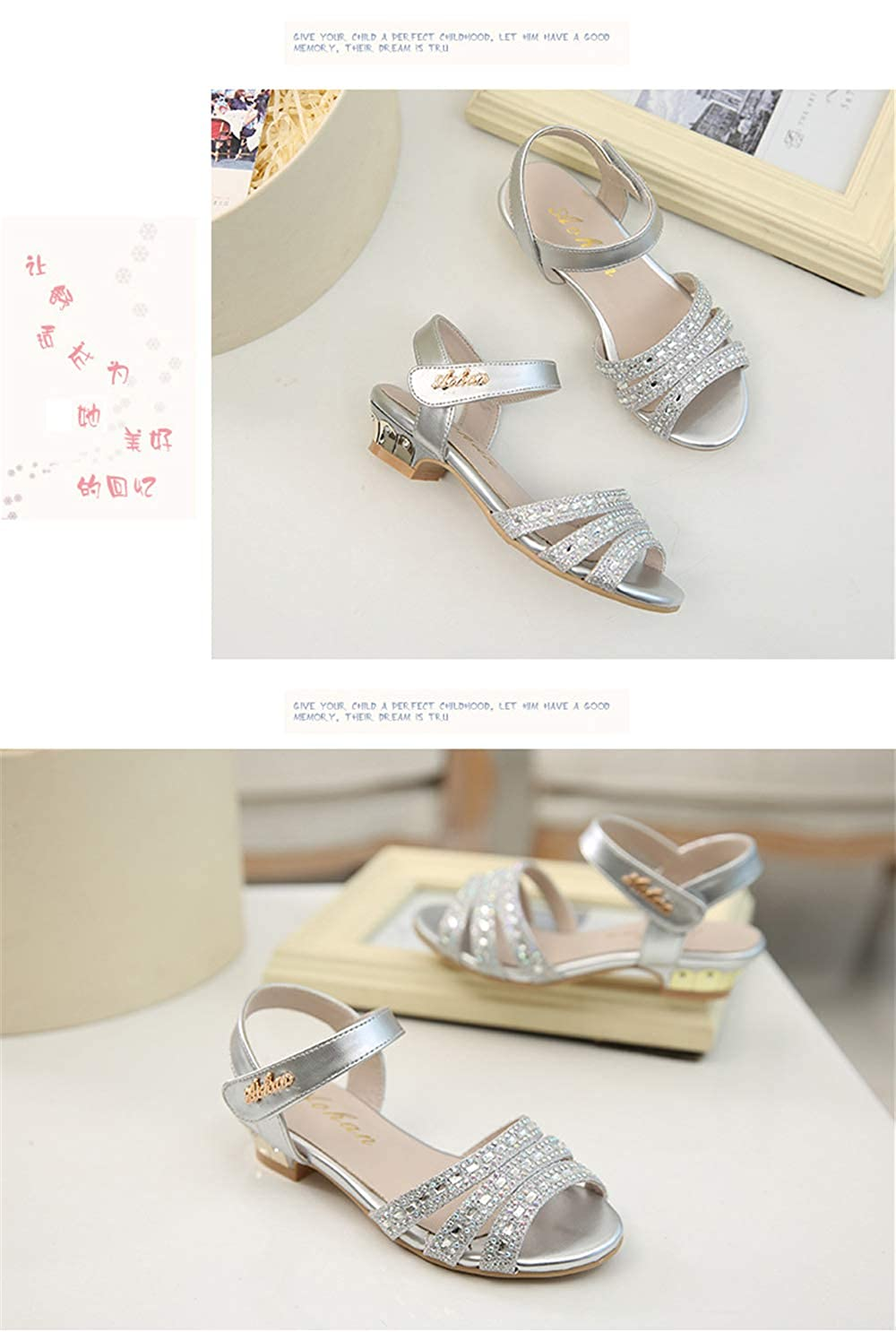 MaxTide Toddler Girls Pearls Ankle Strap Bling Ballet Flats Princess Dress Shoes