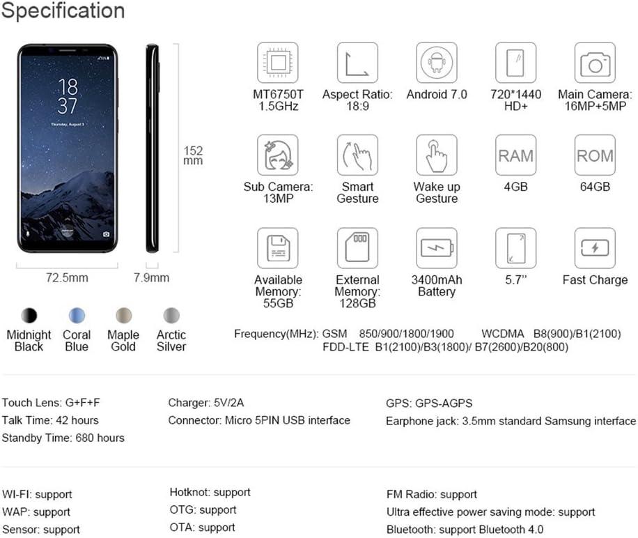 HOMTOM S9 Plus Smartphone Libre 4G (Android 7.0 IPS Pantalla de 6.0,Cámara Trasera de 16MP, 64GB de ROM, 4GB de RAM, MTK6750T Octa Core 1.5GHz, Dual SIM 4050mAh Móviles) (Negro, HOMTOM S8):