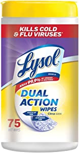 Lysol Dual Action, Disinfecting Wipes, Citrus, 75 Ct