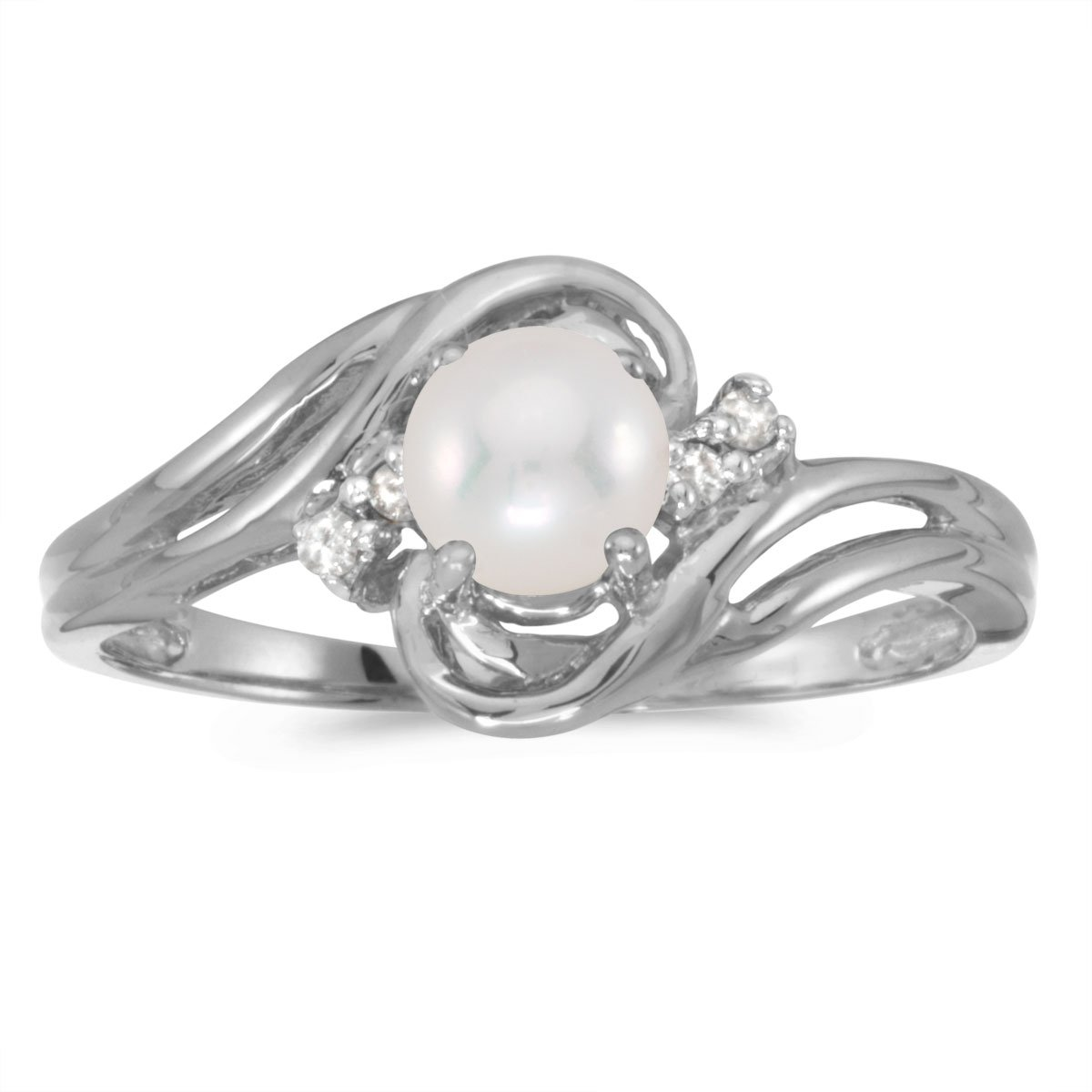 0.04 Carat (ctw) 10k White Gold Round Freshwater-Cultured Pearl and Diamond Bypass Swirl Engagement Anniversary Fashion Ring (6 MM) - Size 6.5