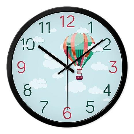 Reloj de Pared LXF Niño de Dibujos Animados Circular Dormitorio Sala de Estar Encantador Muerto Creativo