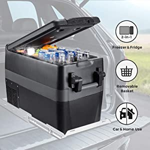 JoyTutus Car Freezer 42 Quart(40L) Portable Refrigerator RV Fridge(-4℉~50℉) Car Refrigerator Electric Compressor Car Cooler for Truck, Boating, Camping, Road Travel and Home Use-12/24V DC