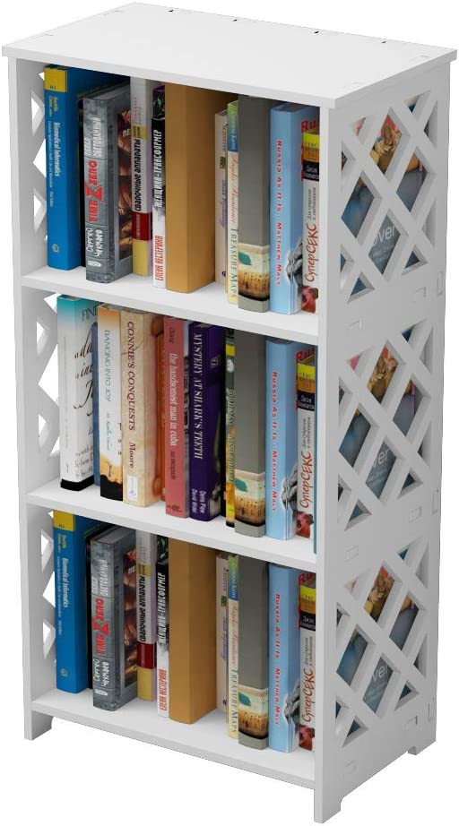 Rerii Bookcase, 3 Tier Kids Small Bookshelf, Book Organizer Storage Case Shelf Rack, Display Shelves, End Table Nightstand for Bedroom Loving Room Bathroom Office, White