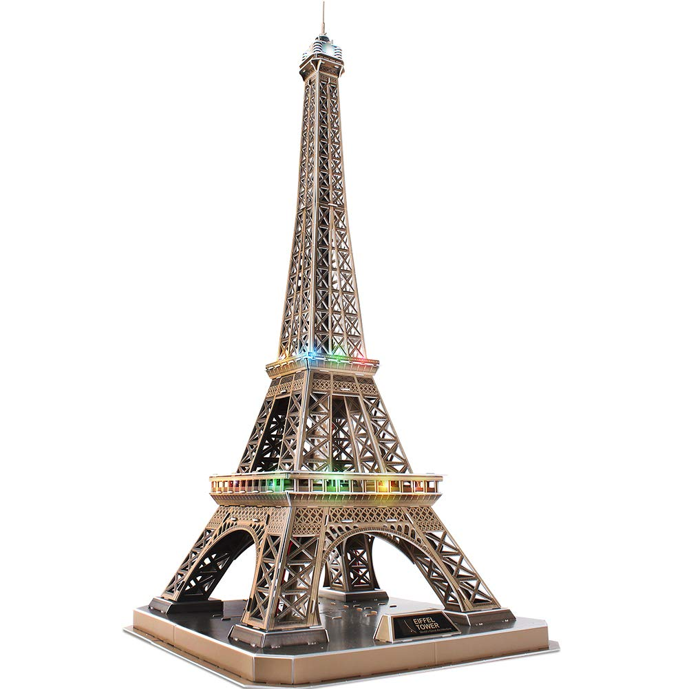 CubicFun 3D Puzzles French Architecture Building Model Kits as Paris Souvenirs Gifts for Adults and Kids, Eiffel Tower Lighting Up in Night D¨¦cor