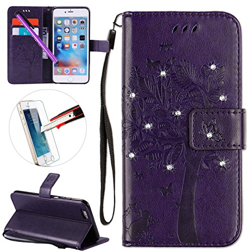 iPhone 6S Plus Case,ISADENSER PU Leather Wallet Card Holder Type Magnet Design Bumper Cover Case for iPhone 6/6S Plus + 1pcs Tempered Glass Screen + 1 Stylus Pen, Purple Wish Tree