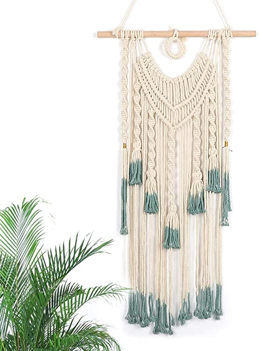 """Alynsehom Macrame Wall Hanging Green and Beige Woven Tapestry Boho Chic Tassels Pendant Hippie Bohemian Wall Art Bedroom Living Room Dorm Backdrop Home Decorations, 33""""x 18"""""""