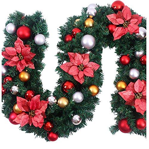Surfmalleu Guirnaldas de Navidad Artificial Decoración Navideña para Chimeneas Árbol Jardín Corona de Pino con Luz Christmas Decoracion(Rojo 1.8m): ...