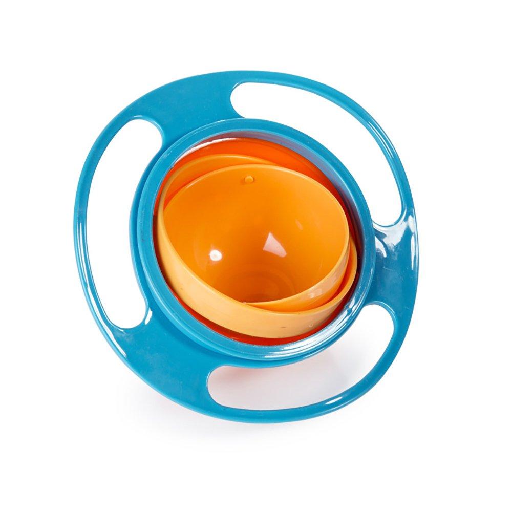 blau Spill resistente Gyro-Sch/üssel mit Deckel f/ür Kinder glatte 360 Grad Drehung mit sehr langlebigem Material