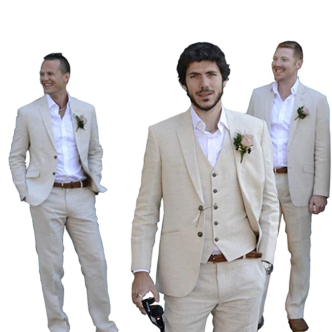 Vintage Beige Linen Mens 3 Piece Suits Wedding Suits Slim ...