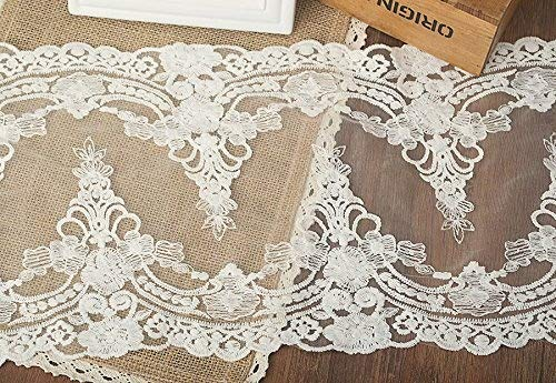5 Yards Vintage Embroidered Lace Edge Trim Ribbon Wedding Applique DIY Sewing Craft,21CM Widths (K-5yards, White)