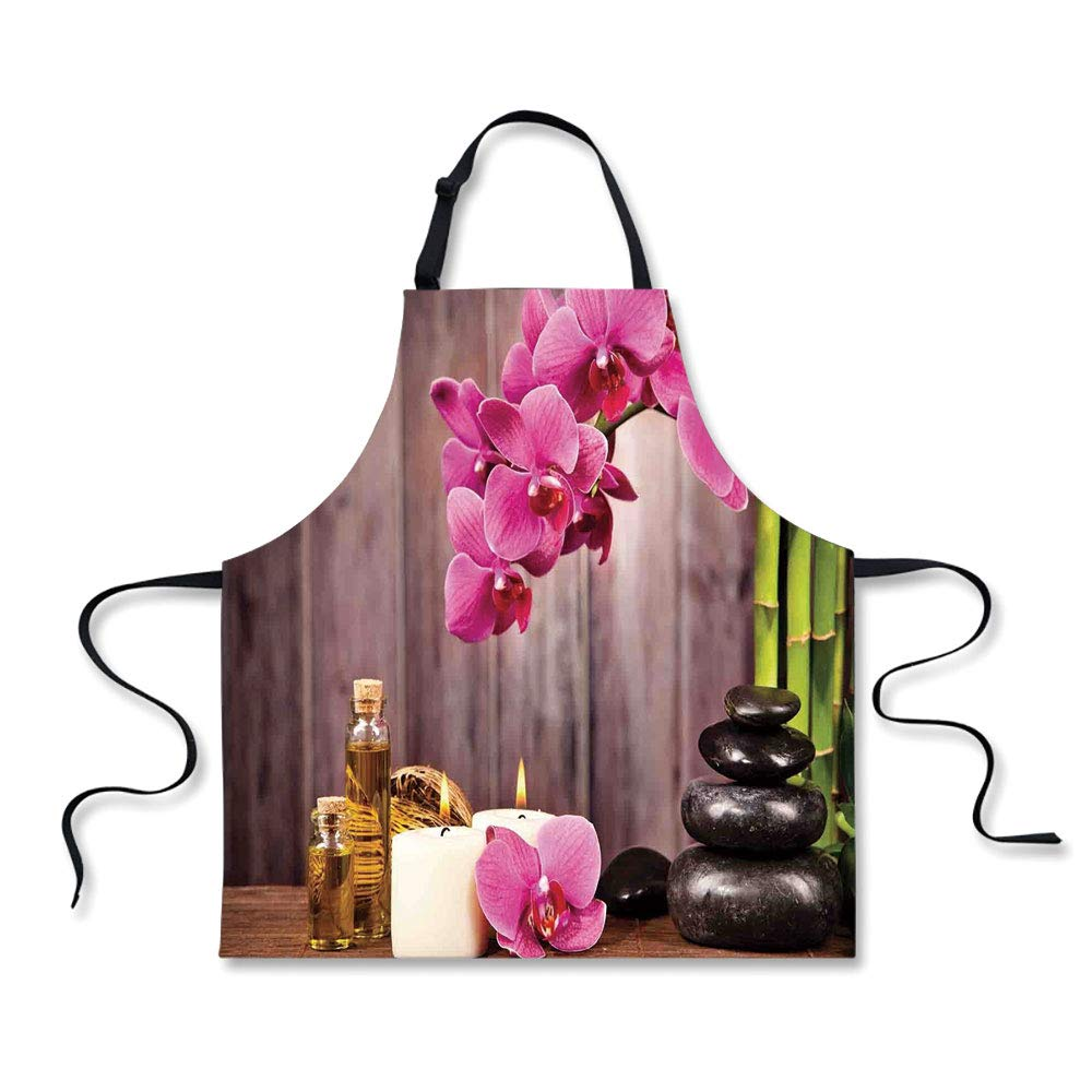 iPrint Personality Apron,Spa Decor,Spa Orchid Flowers Rocks Bamboo Asian Style Aromatherapy Massage Therapy Decorative,Picture Printed Apron.29.5''x26.3''