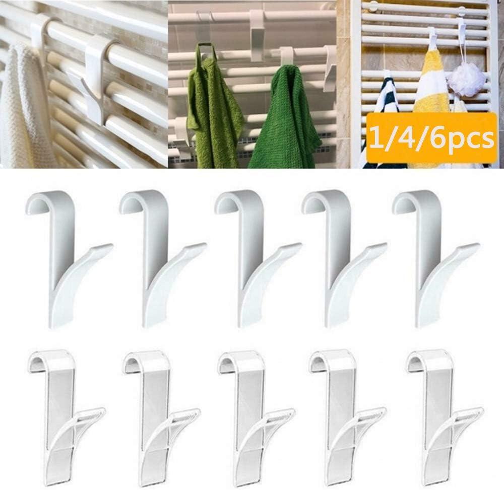 MZY1188 Radiador toallero calentado para baño 4/6 Piezas, no se Necesita Pegamento para Taladro Percha para baño Que Ahorra Espacio Percha para toallero con calefacción Gancho Tubular