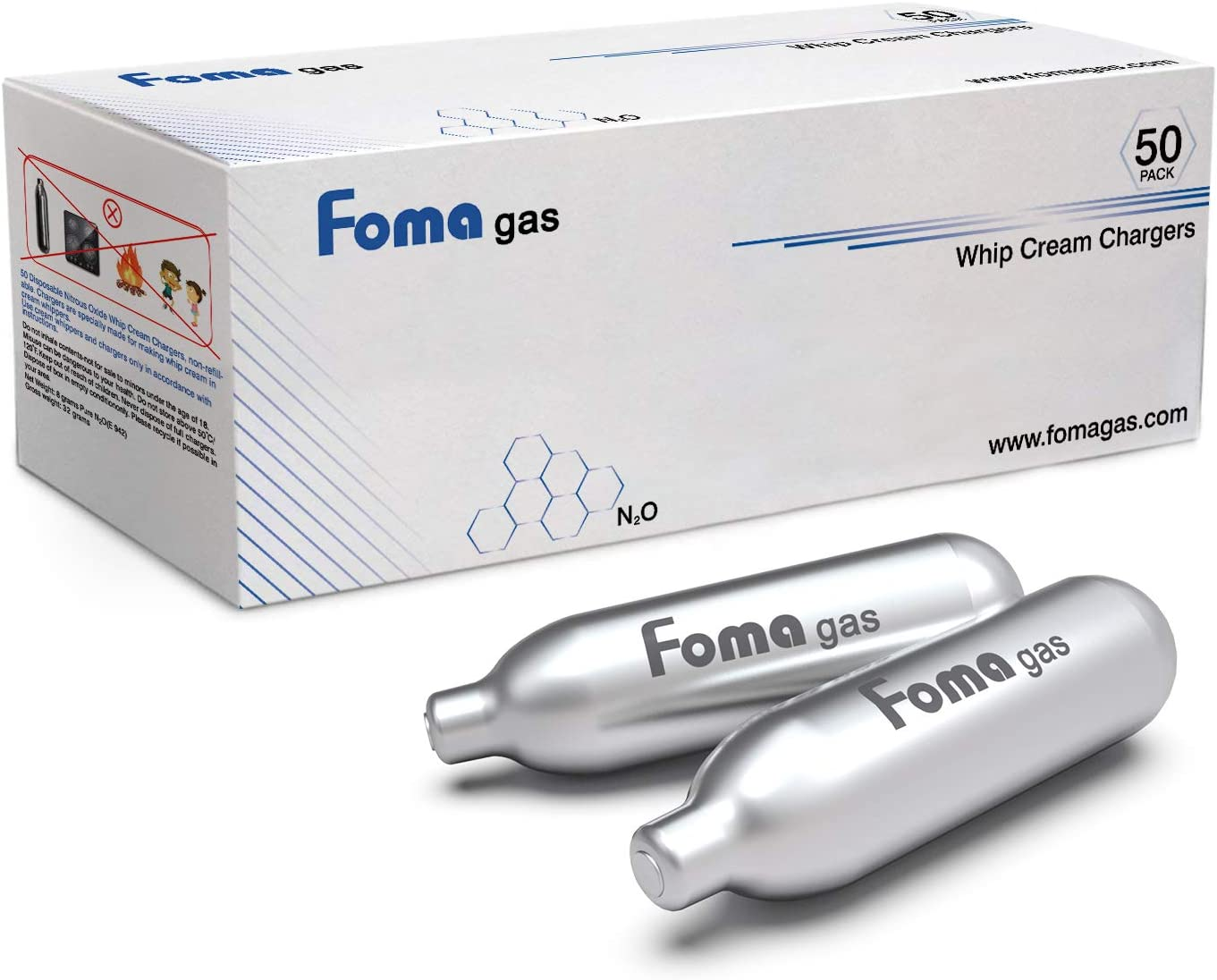 Pack of 50 FOMAGAS Whipped Cream Cartridges