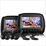 "TUNEZ® 9"" Headrest In Car Monitor 2 DVD Players Games Pillow Headphone 8 Bits Games USB SD MMC Card Slot Sony Lens…"