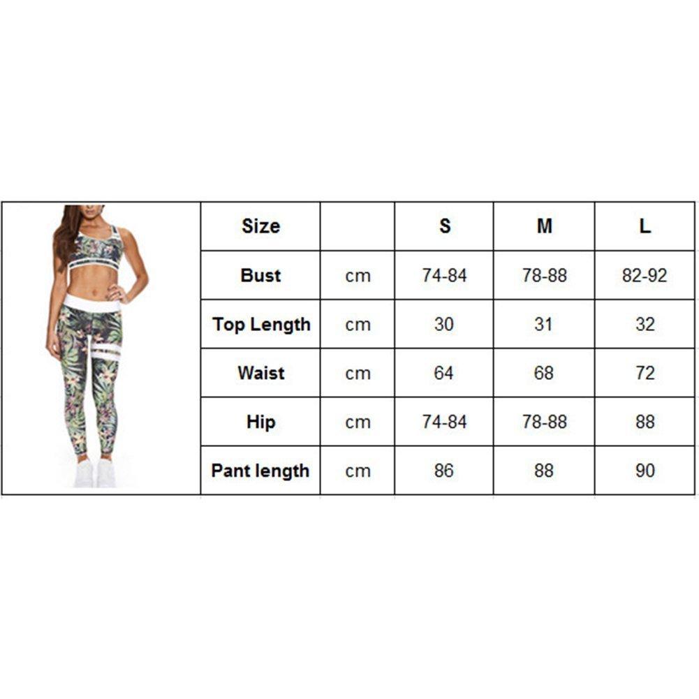 la Corsa e Altre attivit/à Inlefen Sportswear da Donna 2 Pezzi//Set Tuta Alta Elasticit/à Abbigliamento Sportivo Halter Top Sportivi Leggings Tute Fitness per Lo Yoga