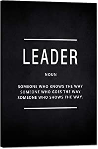 "Leader Noun Motivational Wall Art Inspiring Painting Prints on Canvas Inspirational Leadership Entrepreneur Quotes Posters Inspiration Pictures Wooden Decorations Artwork for Office Home (12""Wx18""H)"