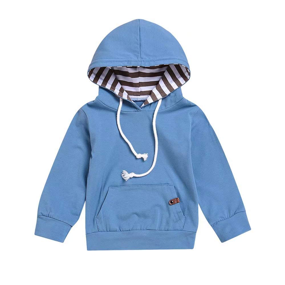 Zerototens Baby Sweatshirt 0-2 Years Old, Toddler Kids Boys Girls Solid Blue Hooded Pullover Sweatshirt Blouse Tops Newborn Clothes Children Casual Outwear Jacket Coat