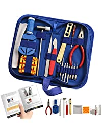 """Watch Repair Kit Professional - Complete Tool Set with Watchmaker's and Jewelers """"Maintenance & Service"""" User Manual - Storage Case - Microfibre Cleaning Towel (16 Pieces)"""