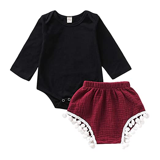 7119149b58a6c Amazon.com: Pumsun Infant Baby Girls Long Sleeve Romper Bodysuit ...