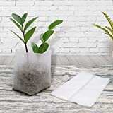 KINGLAKE 200 Pcs Biodegradable Non-woven Plant Seedling Bags Fabric Grow Breeding Bags (14 x 16 cm + 10 x 12 cm) …