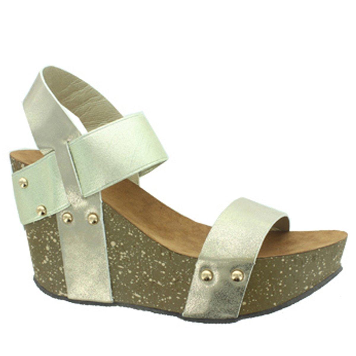ce6fcd0ddb Amazon.com | Pierre Dumas Ellie-1 Women's Studded Platform Wedge Sandals,  Pewter, 10M | Platforms & Wedges