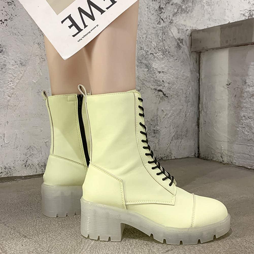 LRZ Damen Mode Martin-Stiefel Schnüren Seitlicher Reißverschluss Plattform Stiefel Schuhe wasserdichte Regen- Und Gartenstiefeletten E
