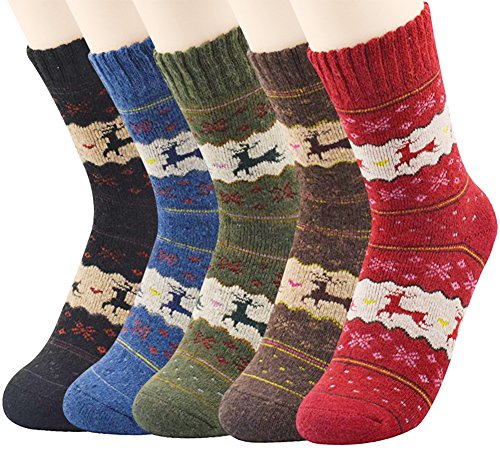 5 Pairs Womens Cold Weather Soft Warm Thick Knit Crew Casual Winter Wool Socks,Multicolor 04,One Size from Loritta