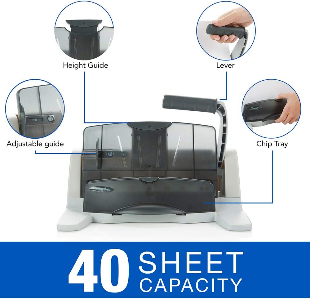 40 Sheet Punch Capacity Desktop Hole Puncher 2-7 Holes Adjustable 74357 LightTouch Black//Silver Swingline Hole Punch