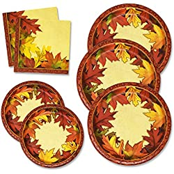 "Thanksgiving Paper Plates and Napkins Set for 50 Guests includes 50 10"" Dinner Plates 50 6 5/8"" Dessert Plates 100 Luncheon Napkins for Fall Leaves Autumn Red Orange Tableware Party Kit Decorations"