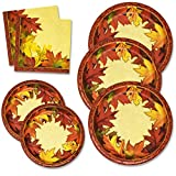 Thanksgiving Paper Plates and Napkins Set for 50 Guests includes 50 10″ Dinner Plates 50 6 5/8″ Dessert Plates 100 Luncheon Napkins for Fall Leaves Autumn Red Orange Tableware Party Kit Decorations Reviews