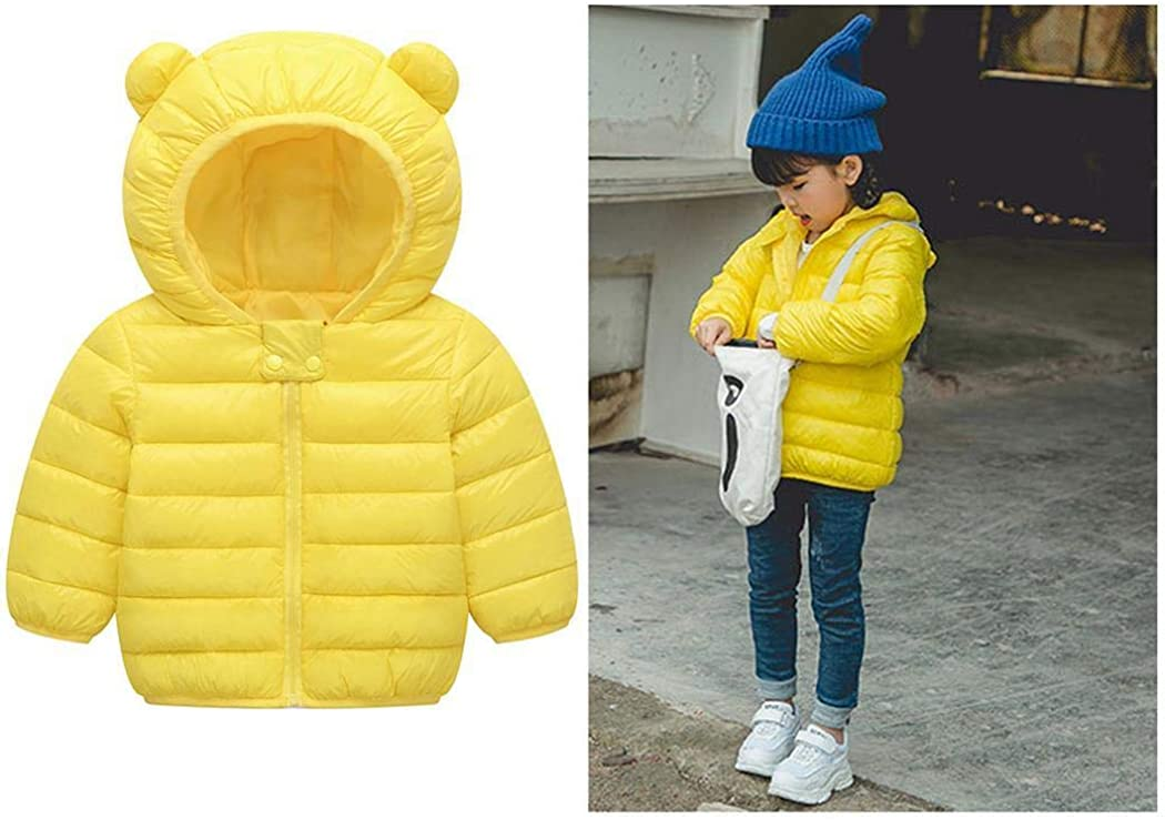Tinffy Kids Winter Warm Lightweight Down Jacket Cotton Lining Padded Hooded Coat Down