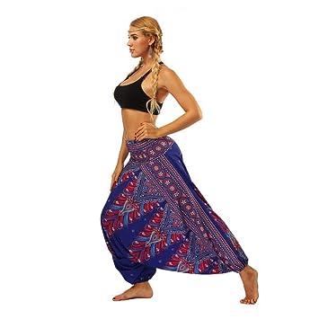 Ytdzsw Femmes Yoga Pantalon Fitness Pantalon Sport Bas Palazzo Dot Inde  Style Vintage Bloomers Taille Haute 25dcefb3586